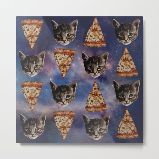 Kitten Pizza Galaxy  Metal Print