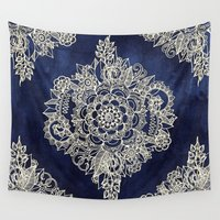 yellow pattern Wall Tapestries featuring Cream Floral Moroccan Pattern on Deep Indigo Ink by micklyn