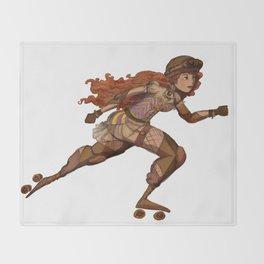 Steampunk Roller Girl Throw Blanket