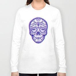 Sugar Skull (Calavera) Chromatic Aberration - Cyan Magenta Long Sleeve T-shirt