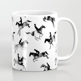 Watercolor Showjumping Horses (Black) Coffee Mug
