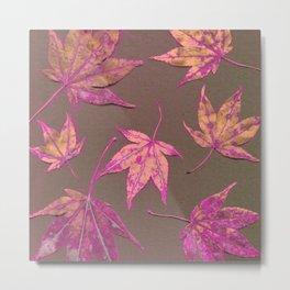Japanese maple leaves - neon pink on khaki Metal Print