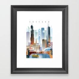 Chicago city skyline painting Framed Art Print