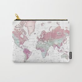 World Map Wall Art [Pink Hues] Carry-All Pouch