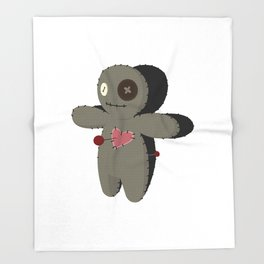 Voodoo doll. Cartoon horror elements. Spooky fear trick or treat Throw Blanket