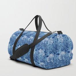 Jacobean Flower Damask, Cobalt and Light Blue Duffle Bag