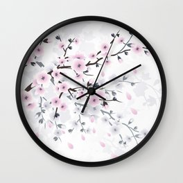 Pastel Cherry Blossom Wall Clock