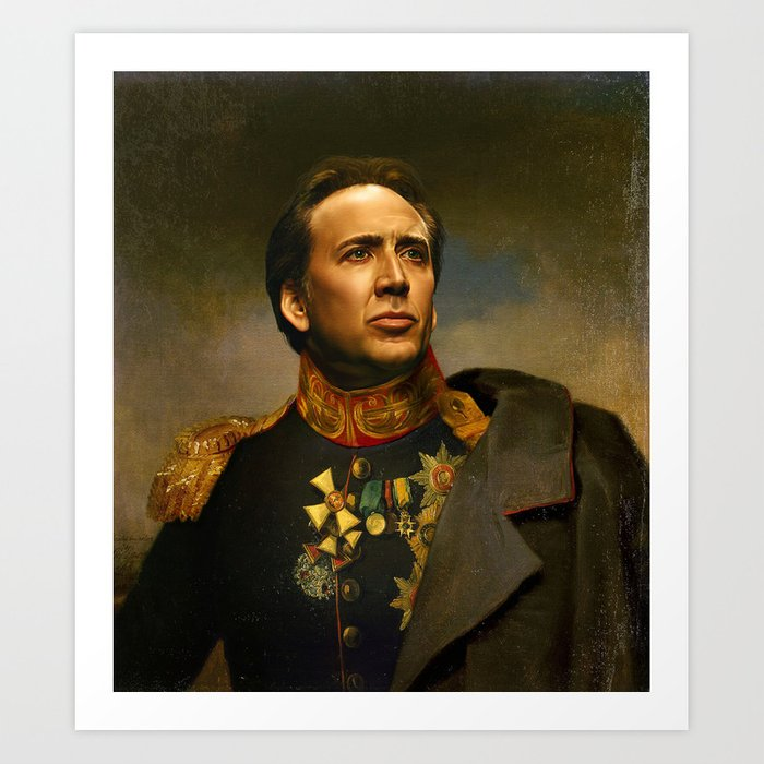 nicolas cage replaceface art print by replaceface society6