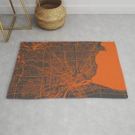 Detroit map orange Rug