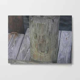 Piling Face on Dock Metal Print