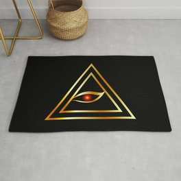 All Seeing Eye of illuminati in gold Rug