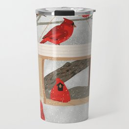Cardinals at bird feeder Travel Mug