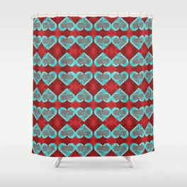 Abstract Turquoise and Bright Red Diamond Hearts Shower Curtain