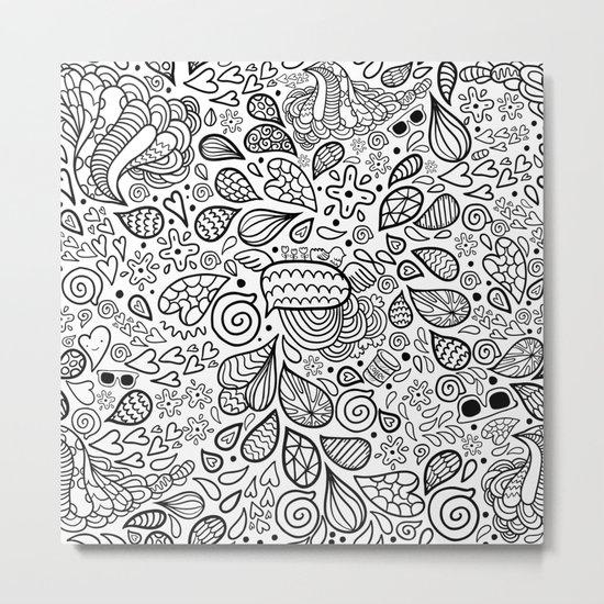 Doodle pattern Metal Print