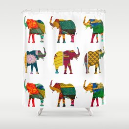 RetroAfro Elephant Print Shower Curtain