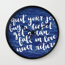 Waves Quote Wall Clock