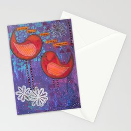 Whimsical Soul Birds Mixed Media Stationery Cards