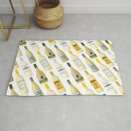 White Wine Bottles Illustration Rug