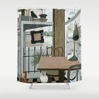 cafe Shower Curtains featuring View from the Cafe by Yuliya