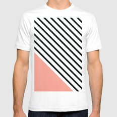 Diagonal Block - Pink SMALL Mens Fitted Tee White