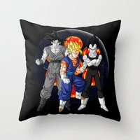 dbz Throw Pillows featuring DBZ - Mighty Fusion by Mr. Stonebanks