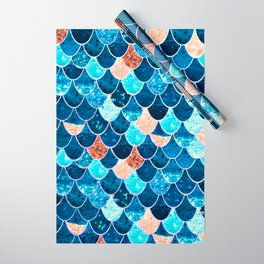 REALLY MERMAID BLUE & GOLD Wrapping Paper