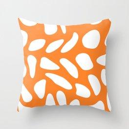 White pebbles on turmeric Throw Pillow