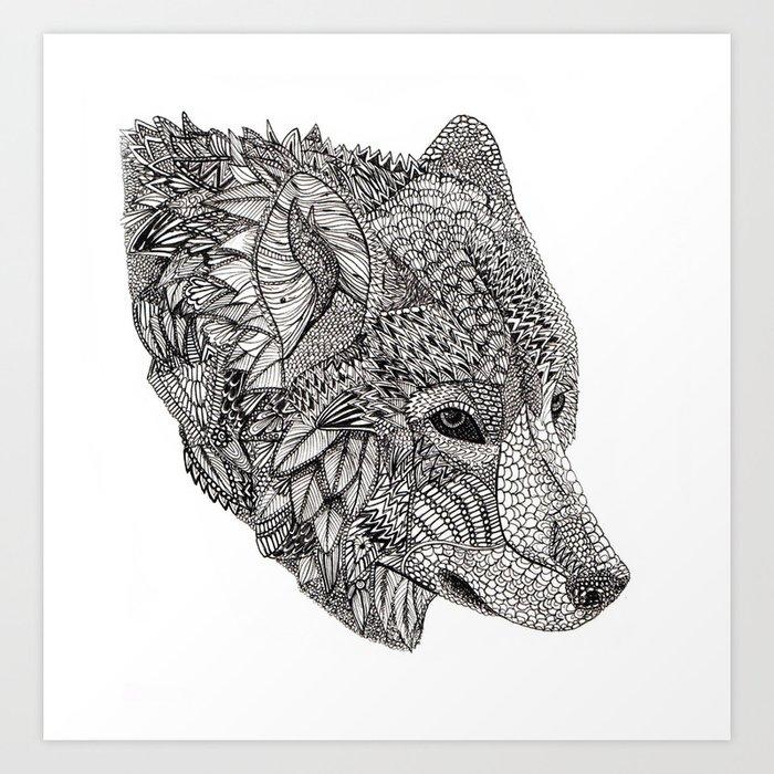 Tribal Wolf Wallpaper: Tribal Wolf Art Print By Lilylivingston