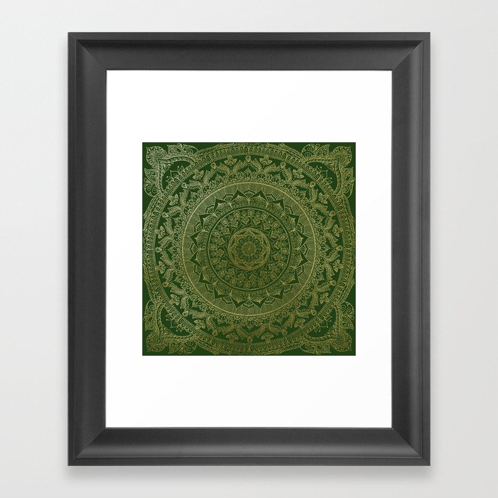 Mandala Royal - Green and Gold Gerahmter Kunstdruck