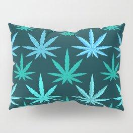 Marijuana Teal Weed Pillow Sham