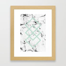 White Marble Concrete Look Mint Green Geometric Squares Framed Art Print