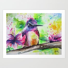 Hummingbird and Flowers Art Print
