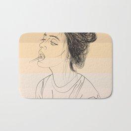 Simple Skintones Drawing of Woman Sucking Lollipop Bath Mat