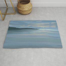 Florida Morning 2 - Abstract Modern - Blue Gray Peach Rug