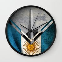 argentina Wall Clocks featuring Flags - Argentina by Ale Ibanez
