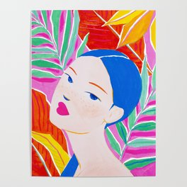 Girl with Ponytail and Palm Poster