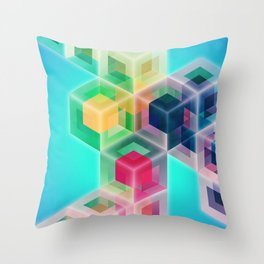 Colorful Cubes Throw Pillow