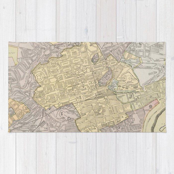 Vintage Map of Edinburgh Scotland (1901) Rug by bravuramedia | Society6