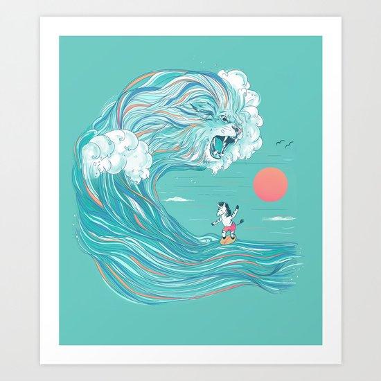 surfing zebra Art Print