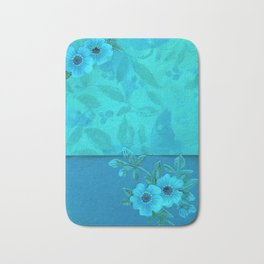 Teal paper flowers Bath Mat