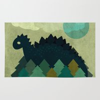 dino Area & Throw Rugs featuring BLUE DINO by Letter_q