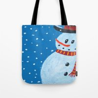 snowman Tote Bags featuring Snowman by gretzky
