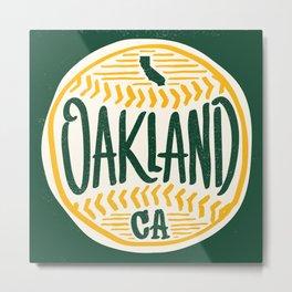 Hand Drawn Baseball for Oakland California with custom Lettering Metal Print