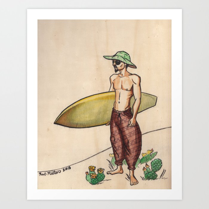 The Lost Surfer; Cactus in the Sand Art Print