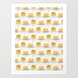 Cute vector blueberry pancake day breakfast illustration Art Print