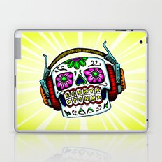 Sugar Skull with Headphones Zombie by RonkyTonk Laptop & iPad Skin