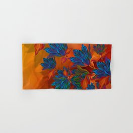 """Blue flowers on orange silk"" (Air Spring at night) Hand & Bath Towel"