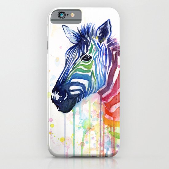 Zebra Watercolor Rainbow Animal Painting Ode to Fruit Stripes iPhone & iPod Case