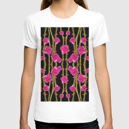 "FUCHSIA PINK ""ROSES & THORNS""  BLACK ART PATTERNS T-shirt"