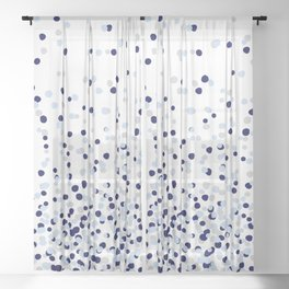 Floating Dots - Gray and Blues on White Sheer Curtain